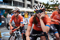 Summer Moak (USA) waits for the start at Deakin University Elite Women Cadel Evans Road Race 2019, a 113 km road race starting and finishing in Geelong, Australia on January 26, 2019. Photo by Sean Robinson/velofocus.com