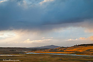 The Yellowstone River snakes through the Hayden Valley in Yellowstone National Park in Wyoming