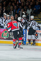 KELOWNA, CANADA - NOVEMBER 8: Tyrell Goulbourne #12 of Kelowna Rockets reacts to his third goal of the second period earning himself a hat trick against the Vancouver Giants on November 8, 2014 at Prospera Place in Kelowna, British Columbia, Canada.   (Photo by Marissa Baecker/Shoot the Breeze)  *** Local Caption *** Tyrell Goulbourne;