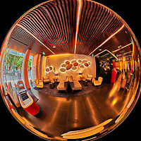 Bessa Hotel Lobby. 180 Degree Mirror Ball View. Composite of 26 images from a Nikon D850 camera and 8-15 mm fisheye lens (ISO 1600, 15 mm, f/8, 1/60 sec). Raw images processed with Capture One Pro and the composite generated with AutoPano Giga Pro.