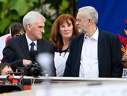 "© Licensed to London News Pictures. FILE PICTURE: 27/06/2016. London, UK. Labour Party leader JEREMY CORBYN (Right) stands next to Shadow Chancellor JOHN MCDONNELL (Left) and his aide KARIE MURPHY (Centre) at a ""Keep Corbyn"" Momentum demonstration outside the Houses of Parliament in London. A BBC Panorama documentary, focusing on alleged anti semitism in the Labour Party is due to run this evening. Photo credit: Ben Cawthra/LNP"