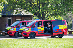 © Licensed to London News Pictures. 15/04/2020. London, UK. Two Police vans patrol Primrose Hill in North London as Ministers decide when and how the lockdown will finish as politicians are warned that the UK could face the worst recession in 300 years. Photo credit: Alex Lentati/LNP
