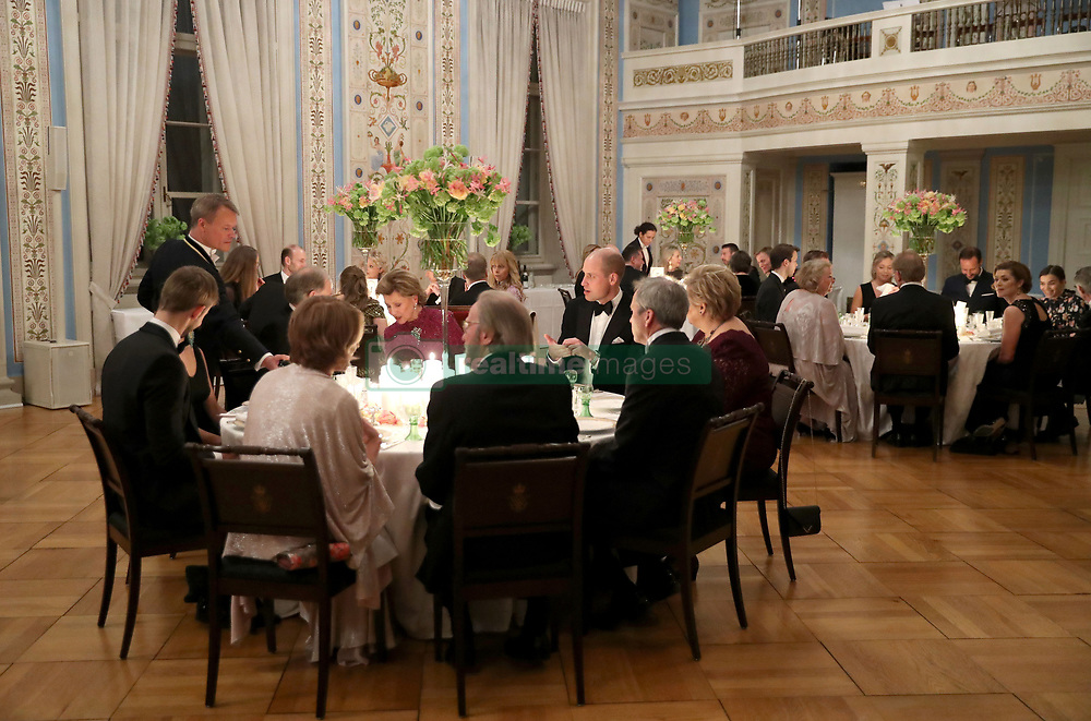 General view of the dinner attended the Duke and Duchess of Cambridge at the Royal Palace, Oslo, Norway and the end of the third day of their tour of Scandinavia.