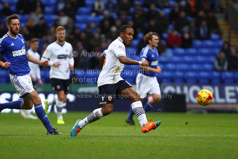 Neil Danns of Bolton Wanderers in action.  Skybet football league championship match, Bolton Wanderers v Ipswich Town at the Macron stadium in Bolton, Lancs on Saturday 13th December 2014.<br /> pic by Chris Stading, Andrew Orchard sports photography.