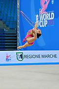 García Natalia Timofeeva during qualifying at hoop in Pesaro World Cup 10 April 2015. Natalia is a Spanish rhythmic gymnastics athlete born in Barcelona Spain on  August 5, 1994.