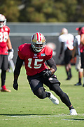 San Francisco 49ers wide receiver Pierre Garcon (15) runs through drills during the San Francisco 49ers training camp held at their practice facility in Santa Clara, California, on August 17, 2017. (Stan Olszewski/Special to S.F. Examiner)