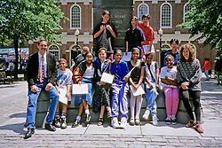 Kids Pics Boston 1996 Boston In Front Of Samuel Adams Statue,  Rogers School, David Barron & Robin Radin