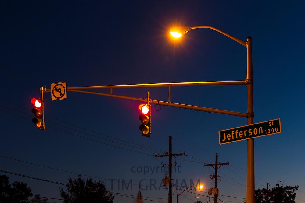 Jefferson Street sign and traffic lights in Layfayette,  Louisiana, USA