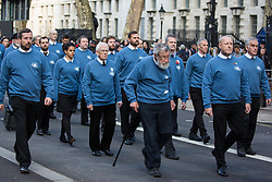 London, UK. 10 November, 2019. Ex-services personnel from Veterans For Peace UK (VFP UK) take part in the Remembrance Sunday ceremony at the Cenotaph. VFP UK was founded in 2011 and works to influence the foreign and defence policy of the UK for the larger purpose of world peace.