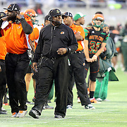 FAMU head coach Corey Fuller is seen on the sidelines during the Florida Classic NCAA football game between the FAMU Rattlers and the Bethune Cookman Wildcats at the Florida Citrus bowl on Saturday, November 22, 2014 in Orlando, Florida. (AP Photo/Alex Menendez)