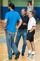 Coach Sergio Scaliolo (R) and FEB President Jorge Garbajosa (L) during the Spain training session before EuroBasket 2017 in Madrid. August 02, 2017. (ALTERPHOTOS/Borja B.Hojas)