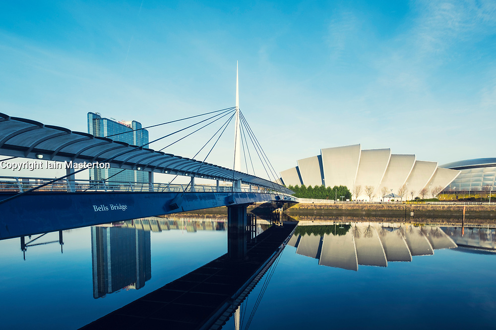 View of Bells Bridge, SEC Armadillo and SE Hydro beside River Clyde on blue sky winter day, Scotland, United Kingdom