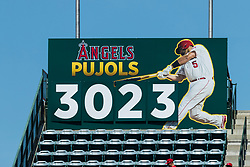 June 3, 2018 - Anaheim, CA, U.S. - ANAHEIM, CA - JUNE 03: Los Angeles Angels first baseman Albert Pujols (5) hit counter during the MLB regular season game against the Texas Rangers and the Los Angeles Angels of Anaheim on June 03, 2018 at Angel Stadium of Anaheim in Anaheim, CA. (Photo by Ric Tapia/Icon Sportswire) (Credit Image: © Ric Tapia/Icon SMI via ZUMA Press)