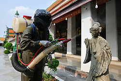 March 17, 2020, Bangkok, Thailand: A worker sprays disinfectant as a precaution against the coronavirus (Covid-19). 30 new cases of the Covid-19 has been confirmed by the Public Health Ministry of Thailand, which now raised the total number of infections to 177 since the beginning of the outbreak. (Credit Image: © Amphol Thongmueangluang/SOPA Images via ZUMA Wire)