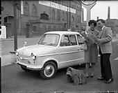 1960 -  Honeymooners with new Prinz car.
