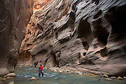 A hiker and the Virgin River in the Zion Narrows, Zion National Park, Utah.  (model released)