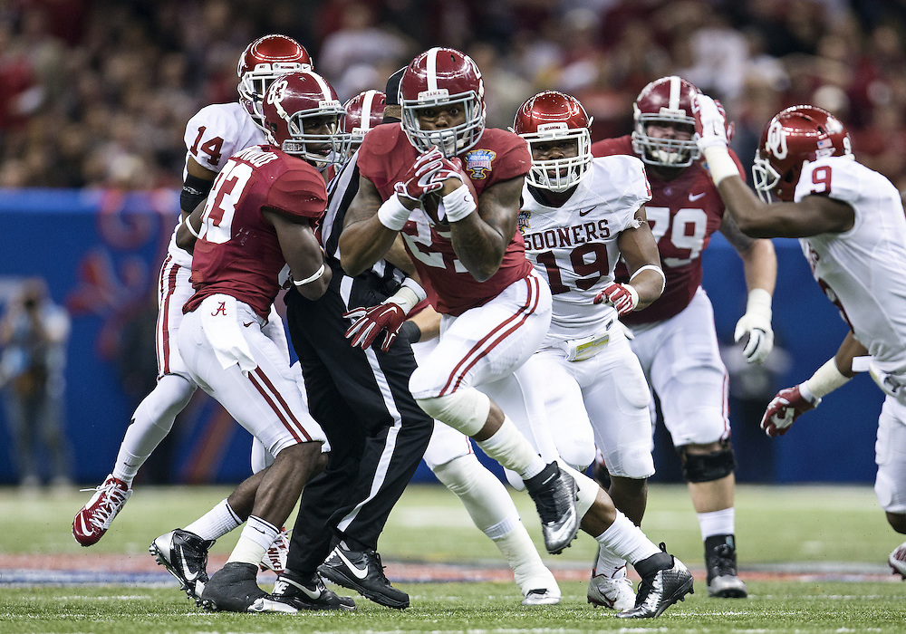January 02, 2014:  Alabama running back Derrick Henry (27) runs with the ball during NCAA Football game action between the Oklahoma Sooners and the Alabama Crimson Tide at Mercedes-Benz Superdome in New Orleans, Louisiana.  Oklahoma defeated Alabama 45-31.