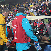 Anthony Fainga'a, Australia, is taken from the field on a stretcher after injury during the Australia V USA, Pool C match during the IRB Rugby World Cup tournament. Wellington Stadium, Wellington, New Zealand, 23rd September 2011. Photo Tim Clayton.