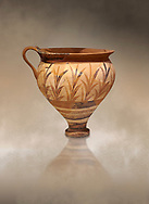 Minoan decorated cup with foliage, Archanes Palace  1600-1450 BC; Heraklion Archaeological  Museum. .<br /> <br /> If you prefer to buy from our ALAMY PHOTO LIBRARY  Collection visit : https://www.alamy.com/portfolio/paul-williams-funkystock/minoan-art-artefacts.html . Type -   Heraklion   - into the LOWER SEARCH WITHIN GALLERY box. Refine search by adding background colour, place, museum etc<br /> <br /> Visit our MINOAN ART PHOTO COLLECTIONS for more photos to download  as wall art prints https://funkystock.photoshelter.com/gallery-collection/Ancient-Minoans-Art-Artefacts-Antiquities-Historic-Places-Pictures-Images-of/C0000ricT2SU_M9w
