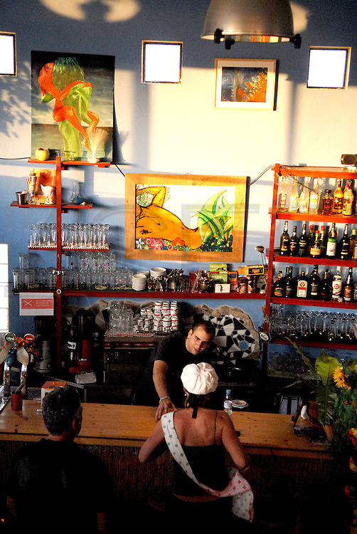 Aspect of the bar and restaurant Tasca do Saskia, at the village of Odeceixe, Algarve. The southwest coast of Portugal, from cape St vincente, at the Algarve, until up to Zambujeira do Mar, at the Alentejo, is said to be among the most unspoiled coastlines of Europe.