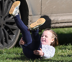 Mia Tindall has fun in the sun on day two of the Gatcombe Horse Trials at Gatcombe Park, Minchinhampton, Gloucestershire, UK, on the 24th March 2019. 24 Mar 2019 Pictured: Mia Tindall has fun in the sun on day two of the Gatcombe Horse Trials at Gatcombe Park, Minchinhampton, Gloucestershire, UK, on the 24th March 2019. Photo credit: James Whatling / MEGA TheMegaAgency.com +1 888 505 6342
