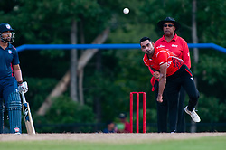 September 22, 2018 - Morrisville, North Carolina, US - Sept. 22, 2018 - Morrisville N.C., USA - Team Canada SAAD ZAFAR (86) delivers during the ICC World T20 America's ''A'' Qualifier cricket match between USA and Canada. Both teams played to a 140/8 tie with Canada winning the Super Over for the overall win. In addition to USA and Canada, the ICC World T20 America's ''A'' Qualifier also features Belize and Panama in the six-day tournament that ends Sept. 26. (Credit Image: © Timothy L. Hale/ZUMA Wire)
