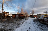 A back alley in the town of Nenana, Alaska October 30, 2019