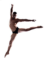 caucasian man gymnastic  jump isolated studio on white background