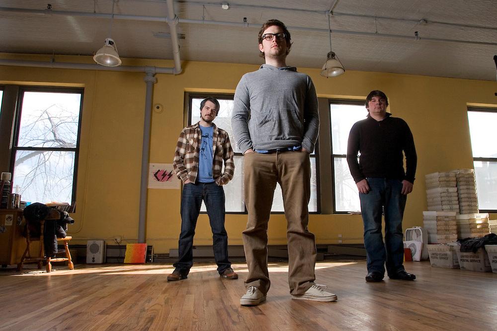 Ryan Schreiber, left, Chris Kaskie, middle, and Scott Plagenhoef of Pitchfork, an online music magazine at www.pitchforkmedia.com.