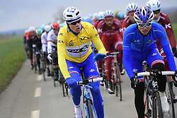 March 7, 2017 - Chalon Sur Saone, France - CHALON-SUR-SAONE, FRANCE - MARCH 7 : DEMARE Arnaud (FRA) Rider of FDJ in the yellow leader jersey is talking to a teammate during stage 03 of the 75th edition of the Paris - Nice cycling race, a stage of 190 km with start in Chablis and finish in Chalon-Sur-Saone on March 07, 2017 in Chalon-Sur-Saone, France, 7/03/2017 (Credit Image: © Panoramic via ZUMA Press)