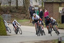 Mieke Kroeger looks to keep her team sprinter, Guarischi in contention at the 127 km Omloop van het Hageland on February 26th 2017, starting and finishing in Tielt Winge, Belgium. (Photo by Sean Robinson/Velofocus)