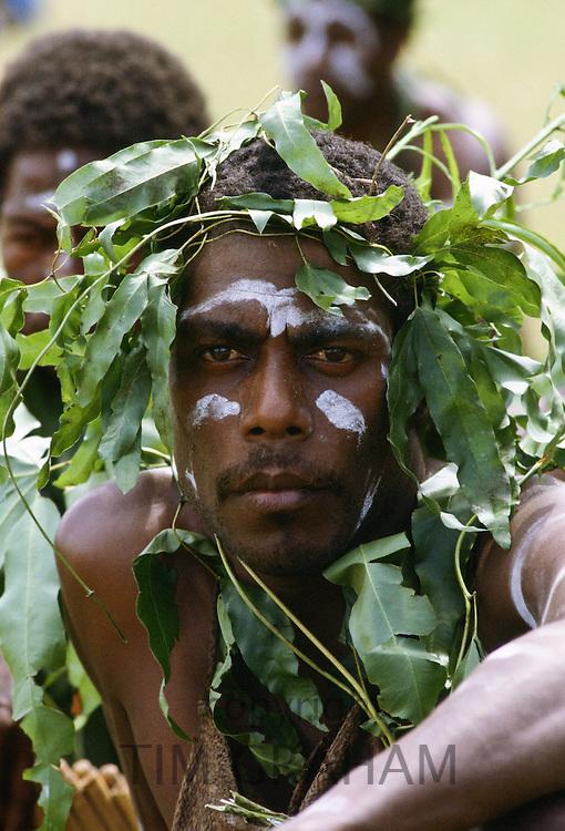 Man in traditional costume, Solomon Islands.