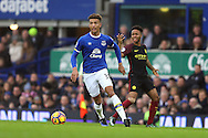 Mason Holgate of Everton gets away from Raheem Sterling of Manchester City. Premier league match, Everton v Manchester City at Goodison Park in Liverpool, Merseyside on Sunday 15th January 2017.<br /> pic by Chris Stading, Andrew Orchard sports photography.