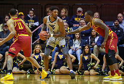Mar 6, 2019; Morgantown, WV, USA; West Virginia Mountaineers forward Derek Culver (1) makes a move along the baseline during the first half against the Iowa State Cyclones at WVU Coliseum. Mandatory Credit: Ben Queen-USA TODAY Sports