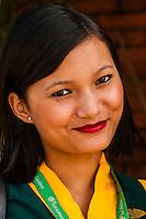 Yeti Airlines flight attendant, Kathmandu airport, Kathmandu, Nepal.