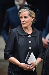 The Countess of Wessex leaving the funeral of Countess Mountbatten of Burma at St Paul's Church, Knightsbridge, London.