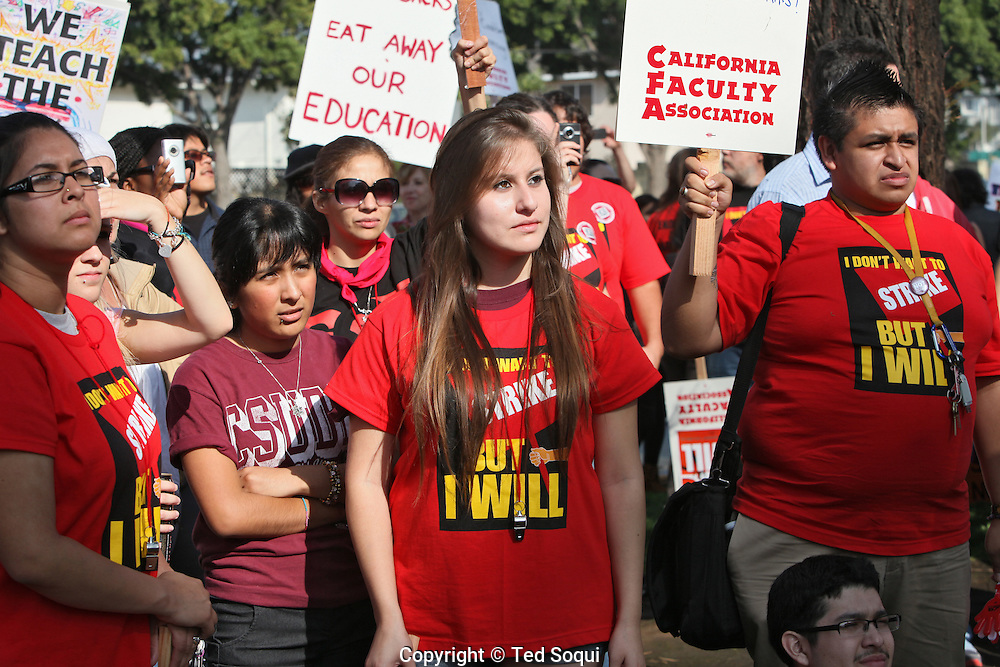Hundreds of students and teachers hold a one day walk out and strike at California State University Dominguez Hills. They are calling on the California Board of Regents to stop student fee increases and to pay the teachers more.