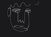 Portrait of a man's face one line drawing, minimalistic style. Simple design illustration. white line on black background