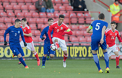 WREXHAM, WALES - Thursday, November 10, 2016: Wales' Tyler Roberts in action against Greece during the UEFA European Under-19 Championship Qualifying Round Group 6 match at the Racecourse Ground. (Pic by Gavin Trafford/Propaganda)