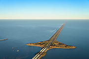 Nederland, Noord-Holland, Den Oever, 11-12-2013; Afsluitdijk met Stevinsluizen (spuisluizen) gezien vanuit Den Oever. Links Waddenzee, rechts IJsselmeer. <br /> Enclosure Dam with Stevin Sluices seen from Den Oever. Left Waddenzee, IJsselmeer right.<br /> luchtfoto (toeslag op standaard tarieven);<br /> aerial photo (additional fee required);<br /> copyright foto/photo Siebe Swart.