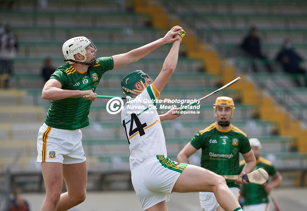 21-05-09, Allianz Hurling League, Division 2B, Round 1 at Pairc Tailteann, Navan<br /> Meath v Offaly<br /> Ben McGowan (Meath) & Adrian Hynes (Offaly)<br /> Photo: David Mullen / www.quirke.ie ©John Quirke Photography, Proudstown Road Navan. Co. Meath. 046-9079044 / 087-2579454.<br /> ISO: 400; Shutter: 1/1250; Aperture: 5;