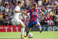 James McArthur of Crystal Palace blocks Tom Carroll of Swansea City (L).<br /> Premier League match, Crystal Palace v Swansea city at Selhurst Park in London on Saturday 26th August 2017.<br /> pic by Kieran Clarke, Andrew Orchard sports photography.