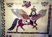 Al-Buraq, the winged horse that carried Mohammed on his night flight to Jerusalem to meet and pray with Moses and Jesus. Tapestry.