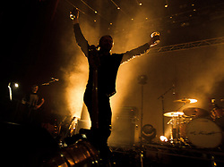 © Licensed to London News Pictures . 14/02/2013 . Manchester , UK . John Bramwell arrives on stage . I Am Kloot perform at the Ritz in Manchester . Photo credit : Joel Goodman/LNP