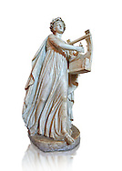 Roman ststue of Apollo with a lyre, copied from an earlier 4th cebtury BC Hellenistic statue, from a group of Muses found in Villa de Cassius at Tivoli,  inv 310, Vatican Museum Rome, Italy,  white background ..<br /> <br /> If you prefer to buy from our ALAMY STOCK LIBRARY page at https://www.alamy.com/portfolio/paul-williams-funkystock/greco-roman-sculptures.html . Type -    Vatican    - into LOWER SEARCH WITHIN GALLERY box - Refine search by adding a subject, place, background colour, museum etc.<br /> <br /> Visit our CLASSICAL WORLD HISTORIC SITES PHOTO COLLECTIONS for more photos to download or buy as wall art prints https://funkystock.photoshelter.com/gallery-collection/The-Romans-Art-Artefacts-Antiquities-Historic-Sites-Pictures-Images/C0000r2uLJJo9_s0c