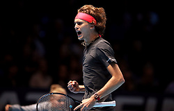 Alexander Zverev during the men's singles match during day six of the Nitto ATP Finals at The O2 Arena, London. PRESS ASSOCIATION Photo. Picture date: Friday November 16, 2018. See PA story TENNIS London. Photo credit should read: John Walton/PA Wire. RESTRICTIONS: Editorial use only, No commercial use without prior permission.