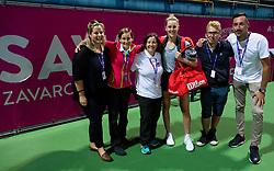 PORTOROZ, SLOVENIA - SEPTEMBER 19:  Staff with Alison Riske of USA after the Singles final during the WTA 250 Zavarovalnica Sava Portoroz at SRC Marina, on September 19, 2021 in Portoroz / Portorose, Slovenia. Photo by Vid Ponikvar / Sportida