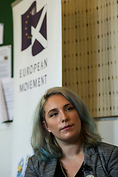 Pictured: Sarah-Beattie Smith<br /> <br /> Scottish Labour leader  Kezia Dugdale MSP  joined Scottish Greens Sarah-Beattie Smith, Conservative Jackson Carlop, SNP's Steven Geffins MP along with  Liberal Democrats Nick Clegg and Willie Rennie at the European Movement for Scotland rally in Edinburgh today.<br /> Ger Harley | EEm 16 June 2016