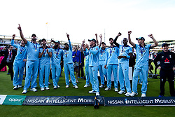 England celebrate winning the ICC Cricket World Cup - Mandatory by-line: Robbie Stephenson/JMP - 14/07/2019 - CRICKET - Lords - London, England - England v New Zealand - ICC Cricket World Cup 2019 - Final