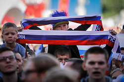 June 25, 2018 - Saint Petersburg, Russia - Russia supporters during the FIFA World Cup 2018 match between Russia and Uruguay on June 25, 2018 at Fan Fest zone in Saint Petersburg, Russia. (Credit Image: © Mike Kireev/NurPhoto via ZUMA Press)